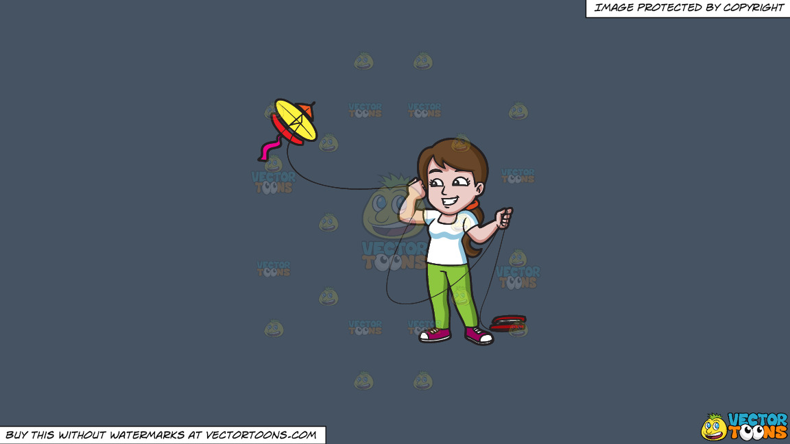 A Happy Woman Looking Over To The Flying Kite On A Solid Metal Grey 465362 Background thumbnail