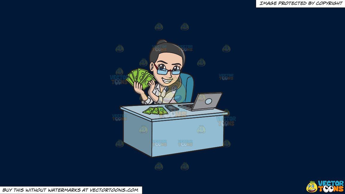 A Happy Woman Making Money Online On A Solid Dark Blue 011936 Background thumbnail
