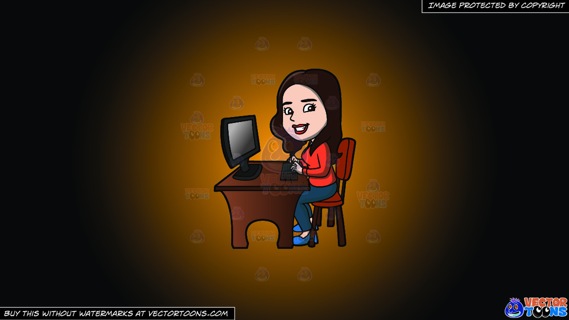 A Happy Woman Using The Computer On A Orange And Black Gradient Background thumbnail