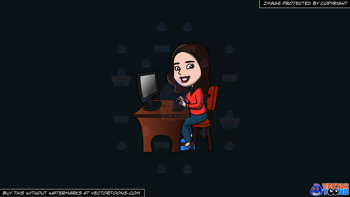 A Happy Woman Using The Computer On A Solid Off Black 0f1a20 Background thumbnail