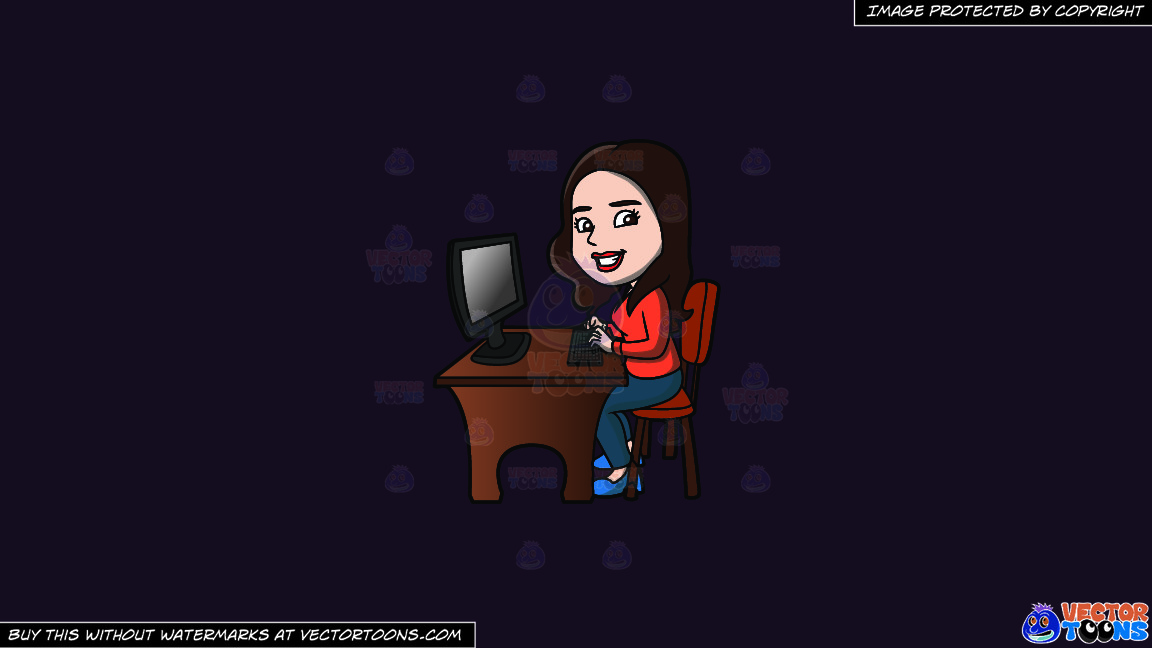 A Happy Woman Using The Computer On A Solid Purple Rasin 241023 Background thumbnail