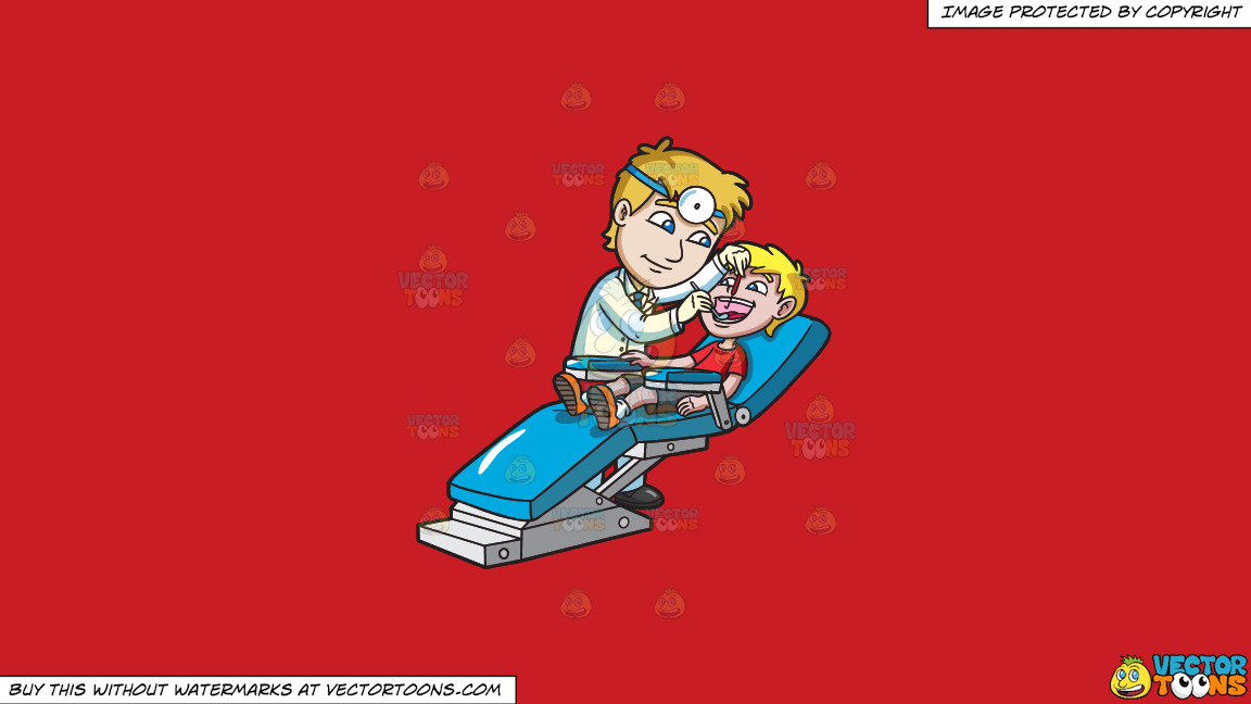 A Happy Young Boy At The Dentist On A Solid Fire Engine Red C81d25 Background thumbnail
