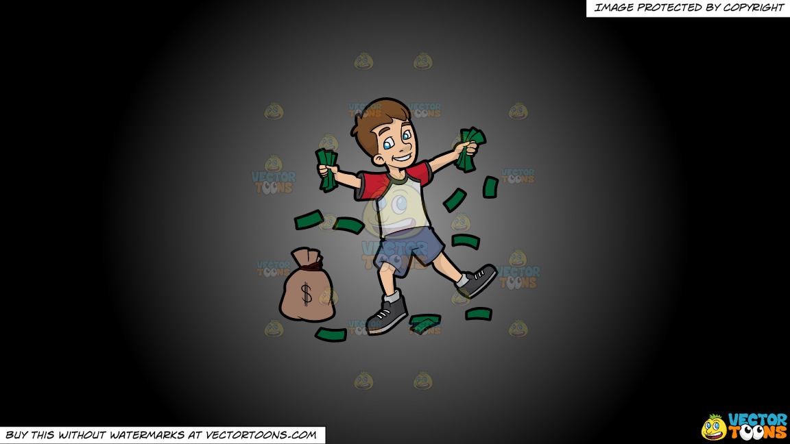 A Happy Young Man Holding Fistfuls Of Cash On A Grey And Black Gradient Background thumbnail