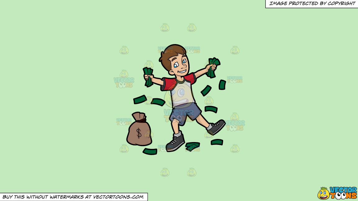 A Happy Young Man Holding Fistfuls Of Cash On A Solid Tea Green C2eabd Background thumbnail