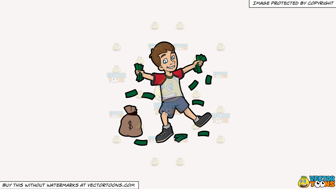 A Happy Young Man Holding Fistfuls Of Cash On A Solid White Smoke F7f4f3 Background thumbnail