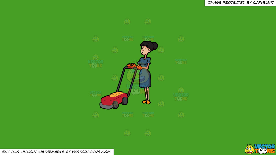 A Helper Pushing A Lawn Mower On A Solid Kelly Green 47a025 Background thumbnail