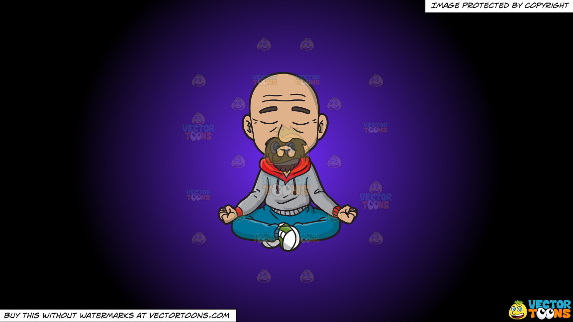A Hip Old Man Meditates To Get Rid Of Some Stress On A Purple And Black Gradient Background thumbnail
