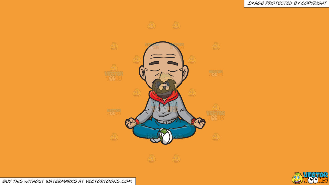 A Hip Old Man Meditates To Get Rid Of Some Stress On A Solid Deep Saffron Gold F49d37 Background thumbnail