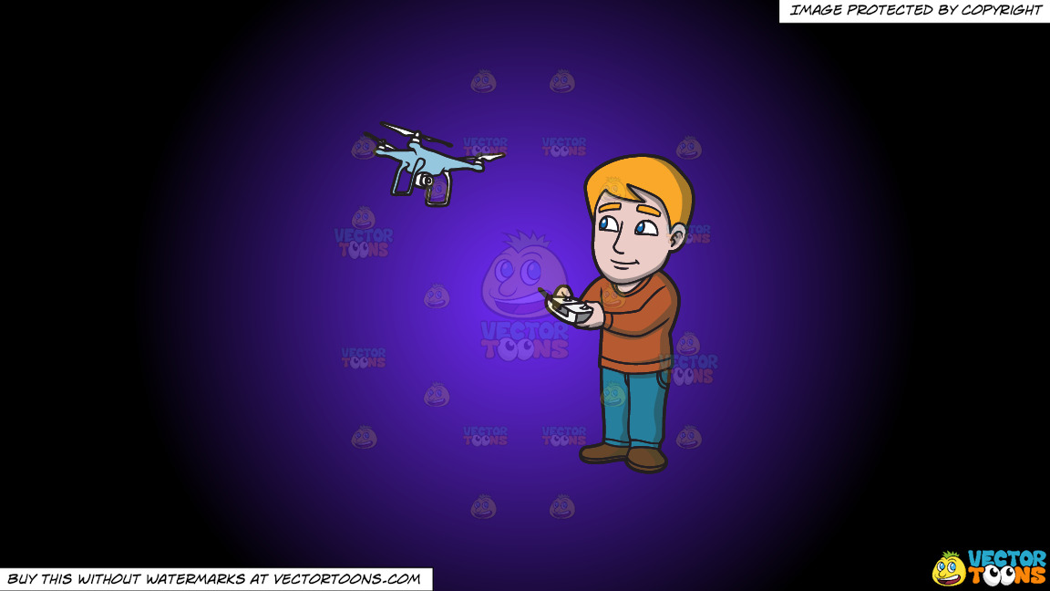 A Hobbyist Flying His New Drone With A Remote On A Purple And Black Gradient Background thumbnail