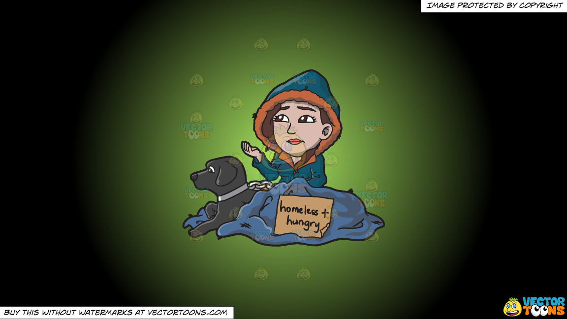 A Homeless And Hungry Woman With A Black Dog On A Green And Black Gradient Background thumbnail
