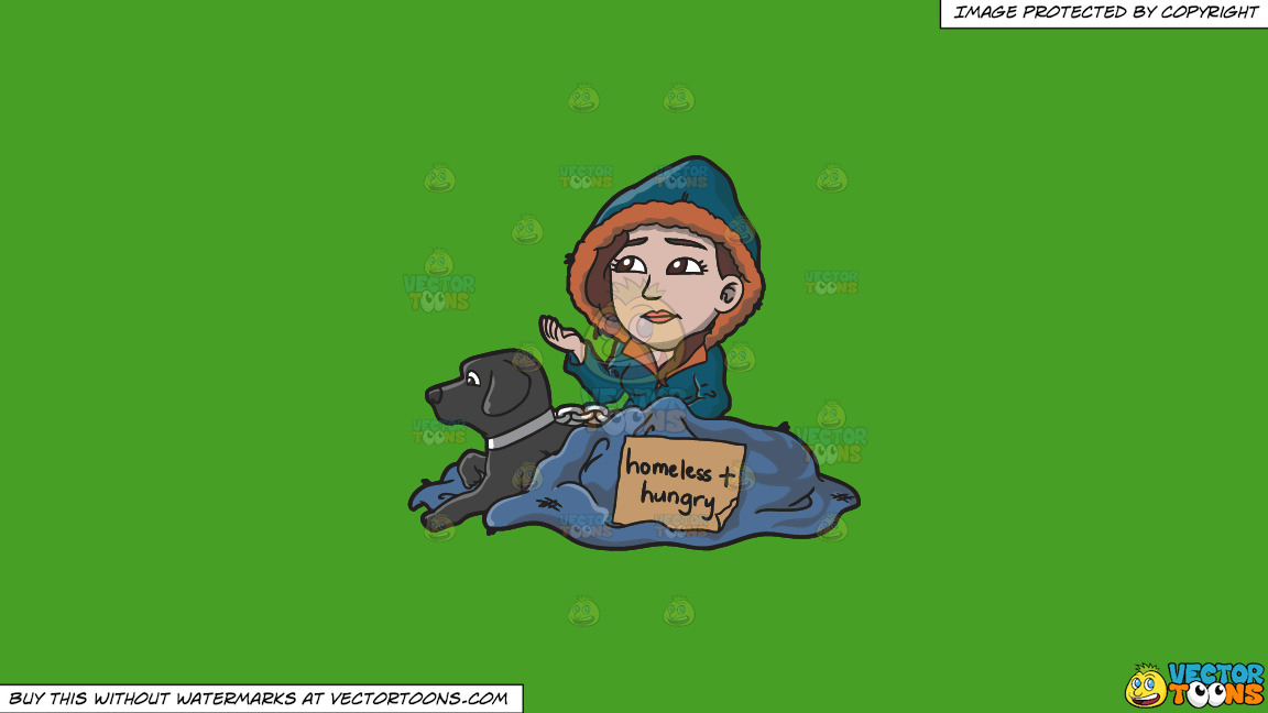 A Homeless And Hungry Woman With A Black Dog On A Solid Kelly Green 47a025 Background thumbnail