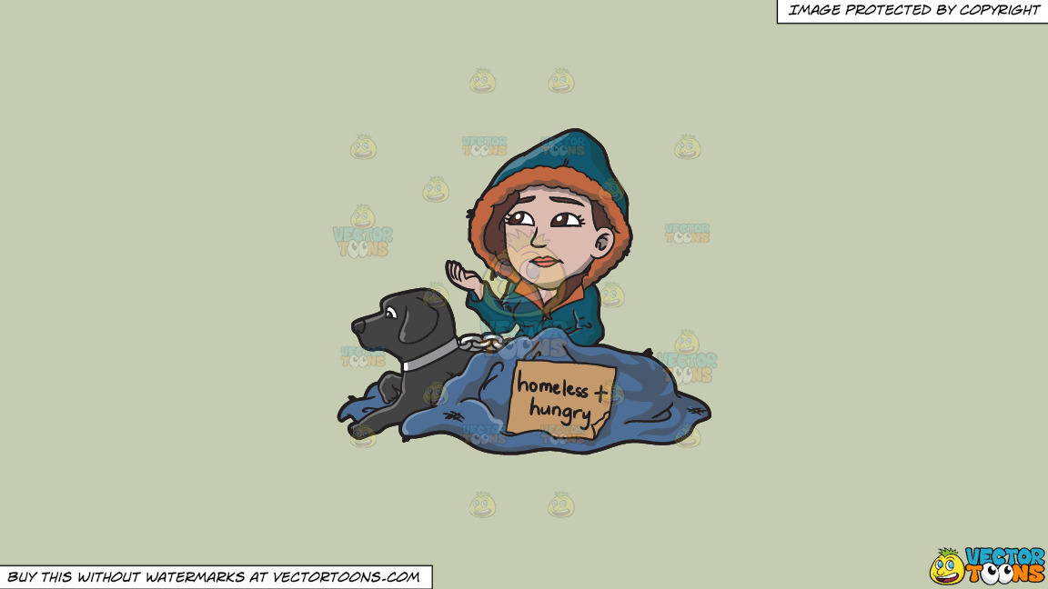 A Homeless And Hungry Woman With A Black Dog On A Solid Pale Silver C6ccb2 Background thumbnail