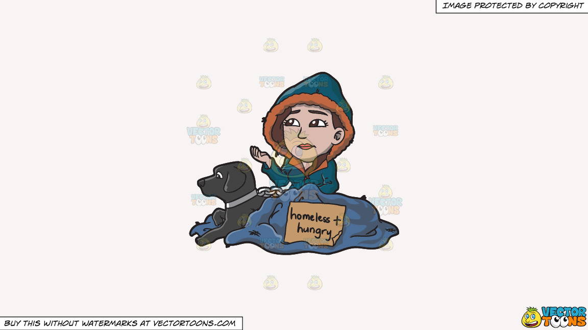 A Homeless And Hungry Woman With A Black Dog On A Solid White Smoke F7f4f3 Background thumbnail