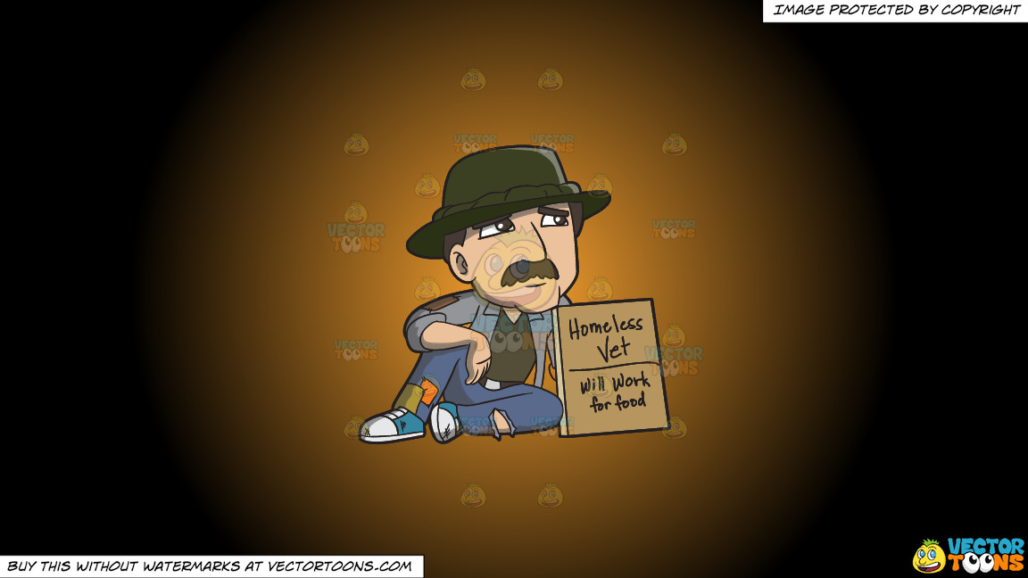 A Homeless War Veteran Asking For Work On A Orange And Black Gradient Background thumbnail