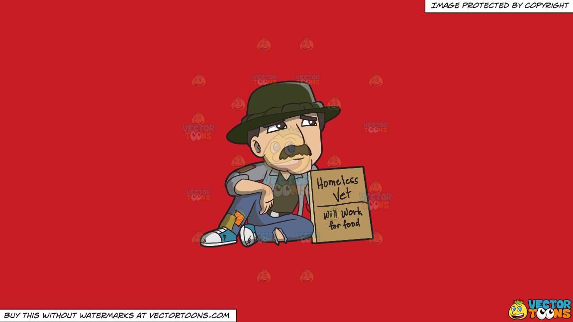 A Homeless War Veteran Asking For Work On A Solid Fire Engine Red C81d25 Background thumbnail