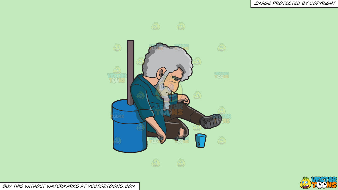 A Hopeless And Homeless Man In The Street On A Solid Tea Green C2eabd Background thumbnail