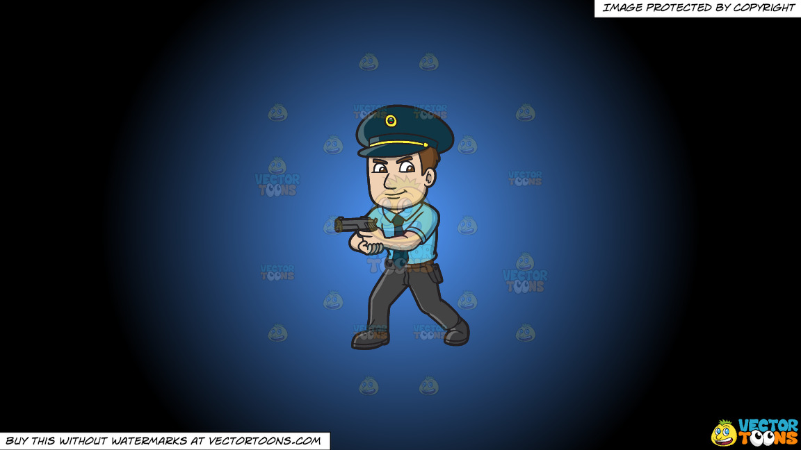 A Hungarian Police Officer On A Blue And Black Gradient Background thumbnail