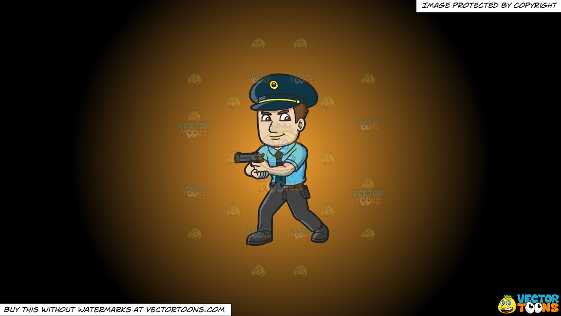 A Hungarian Police Officer On A Orange And Black Gradient Background thumbnail
