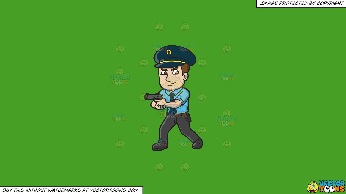 A Hungarian Police Officer On A Solid Kelly Green 47a025 Background thumbnail