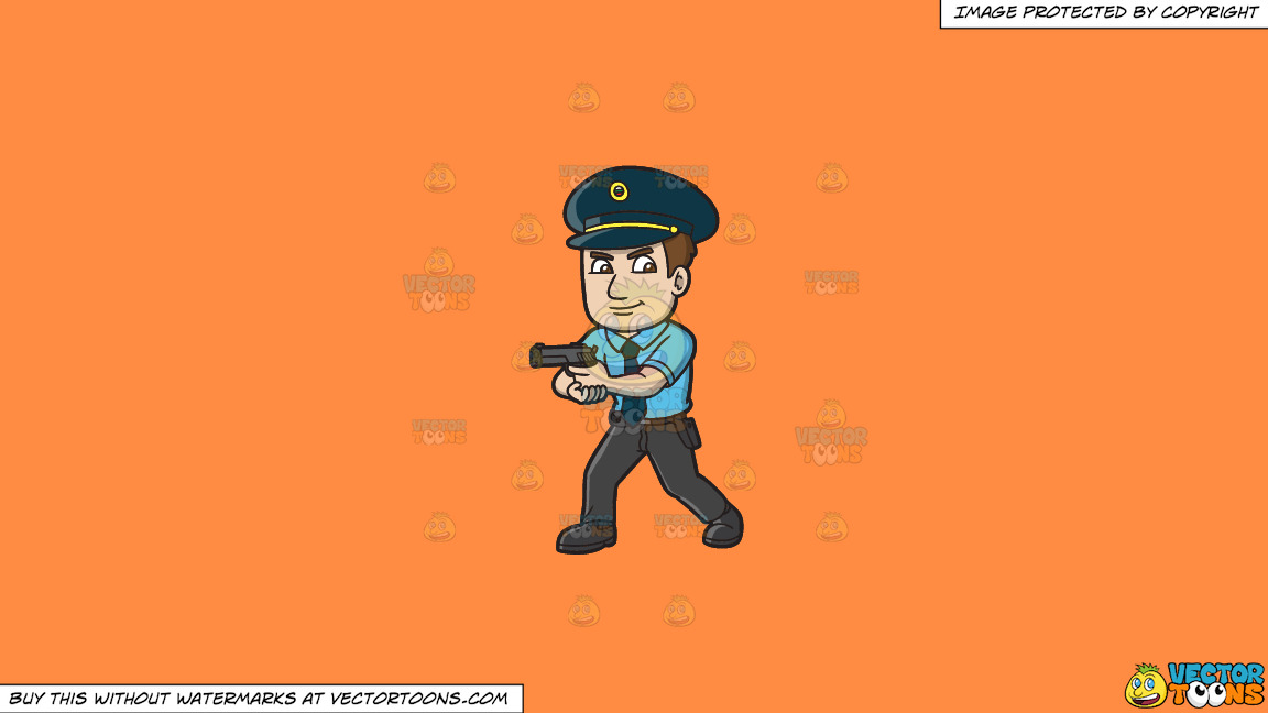 A Hungarian Police Officer On A Solid Mango Orange Ff8c42 Background thumbnail