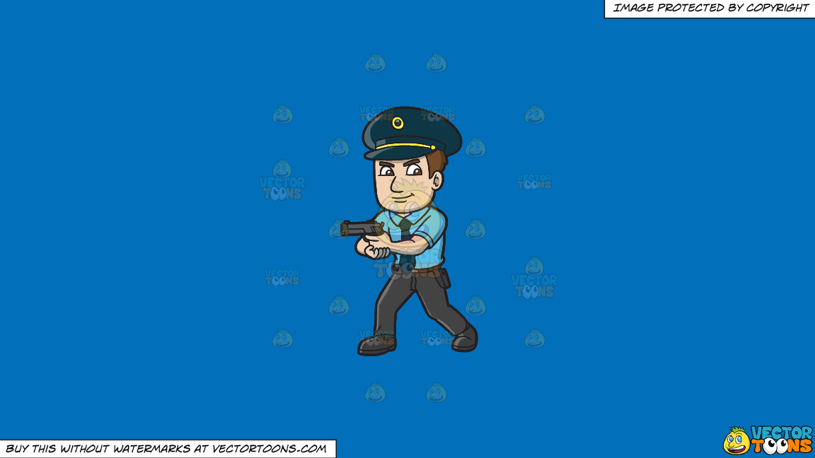 A Hungarian Police Officer On A Solid Spanish Blue 016fb9 Background thumbnail