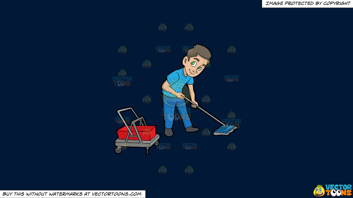 A Janitor Mopping The Floor On A Solid Dark Blue 011936 Background thumbnail