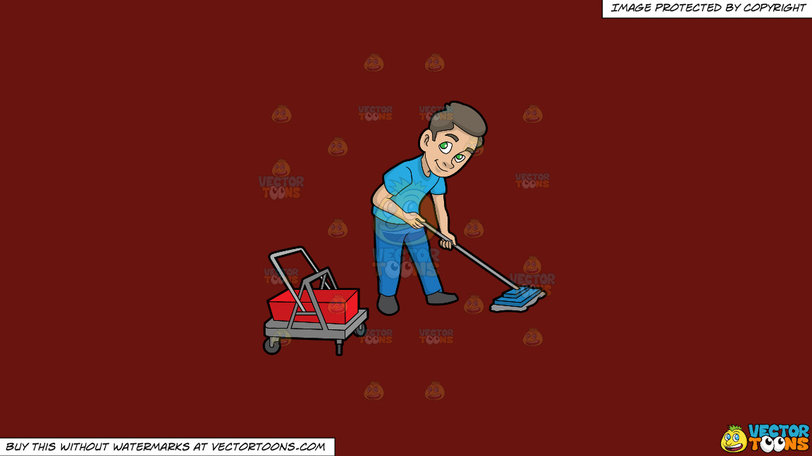 A Janitor Mopping The Floor On A Solid Maroon 69140e Background thumbnail