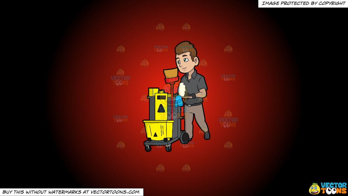 A Janitor Pushing His Cleaning Trolley On A Red And Black Gradient Background thumbnail