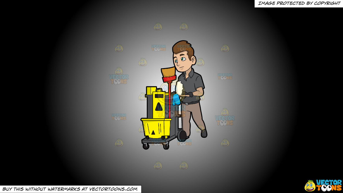 A Janitor Pushing His Cleaning Trolley On A White And Black Gradient Background thumbnail