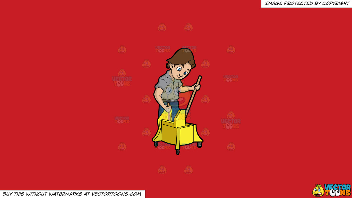 A Janitor Wringing A Mop On A Solid Fire Engine Red C81d25 Background thumbnail