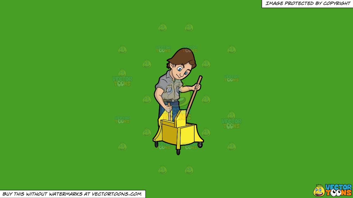 A Janitor Wringing A Mop On A Solid Kelly Green 47a025 Background thumbnail