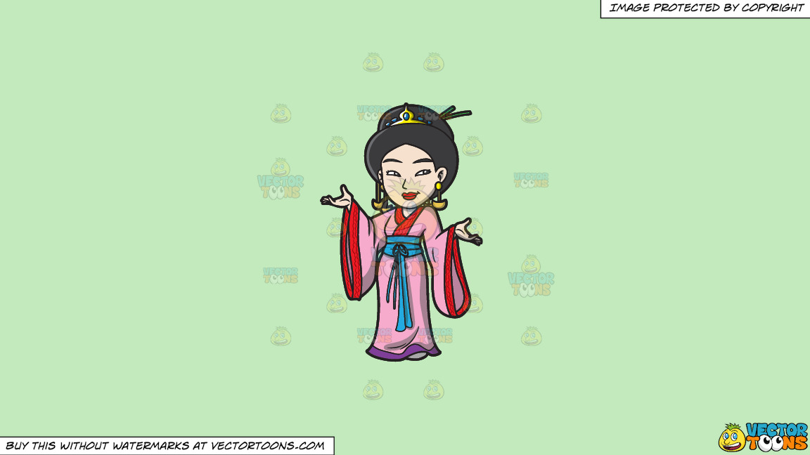 A Japanese Princess On A Solid Tea Green C2eabd Background thumbnail