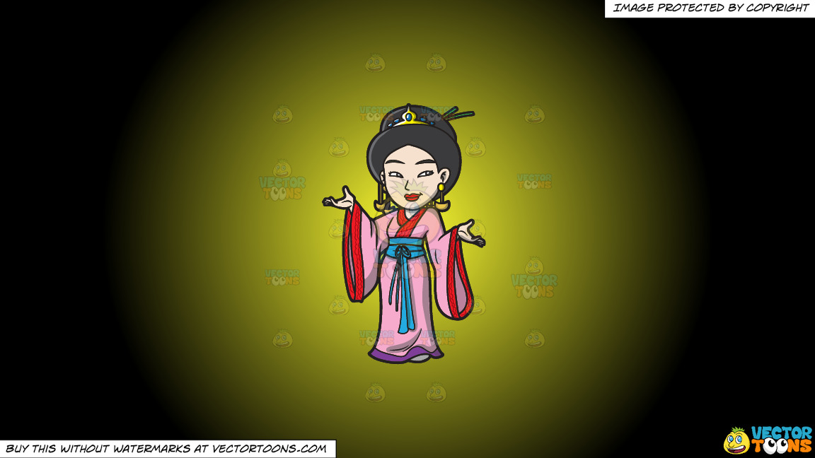 A Japanese Princess On A Yellow And Black Gradient Background thumbnail