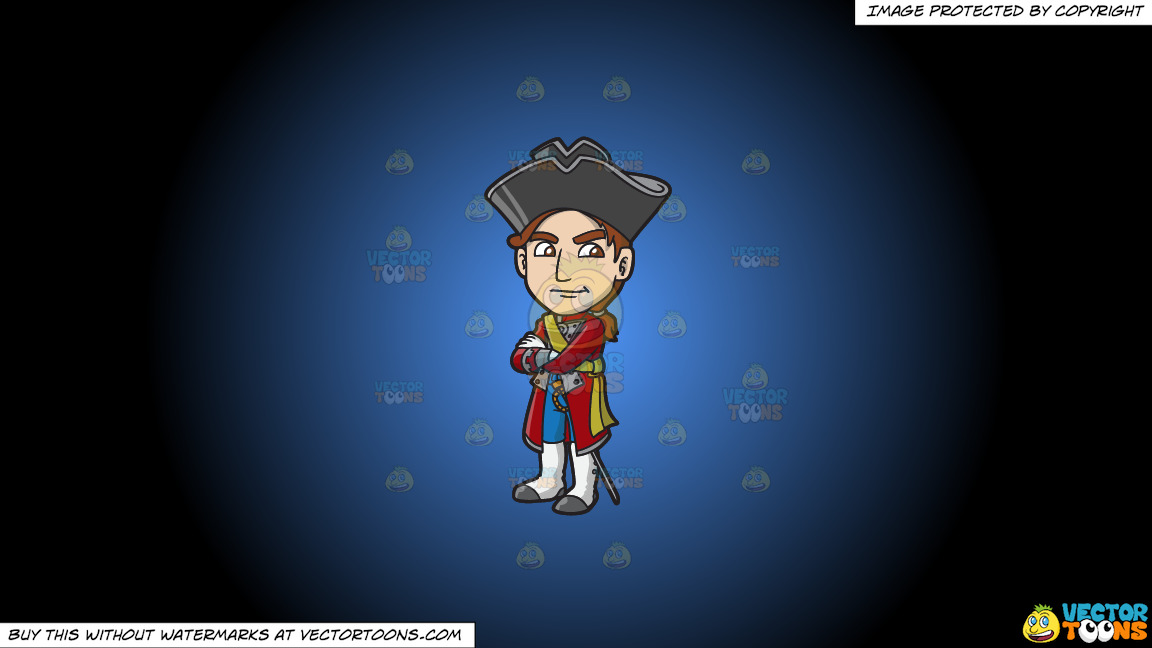 A Jealous 18th Century Military Man On A Blue And Black Gradient Background thumbnail