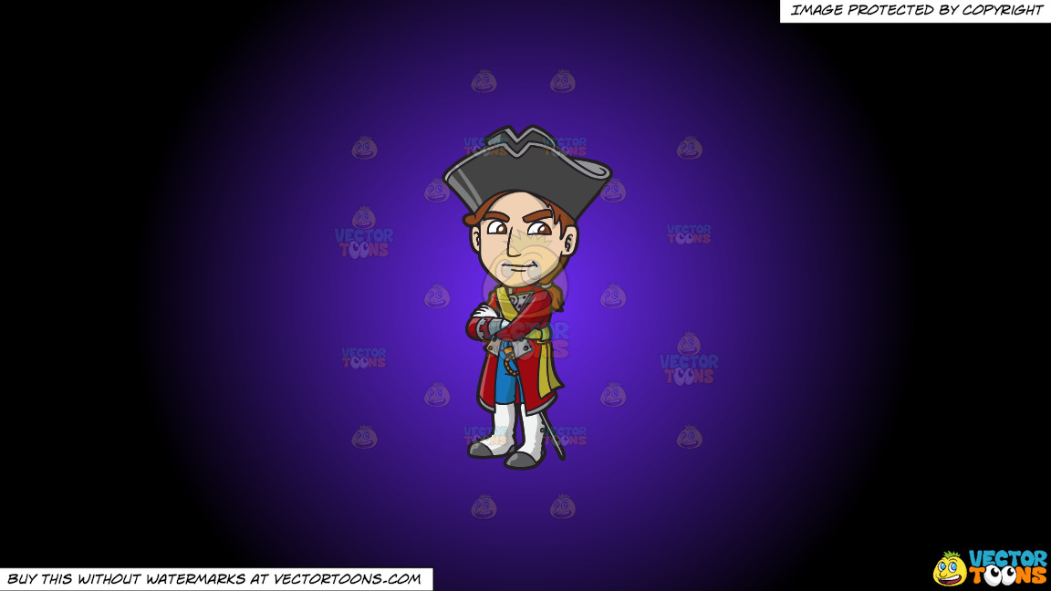 A Jealous 18th Century Military Man On A Purple And Black Gradient Background thumbnail