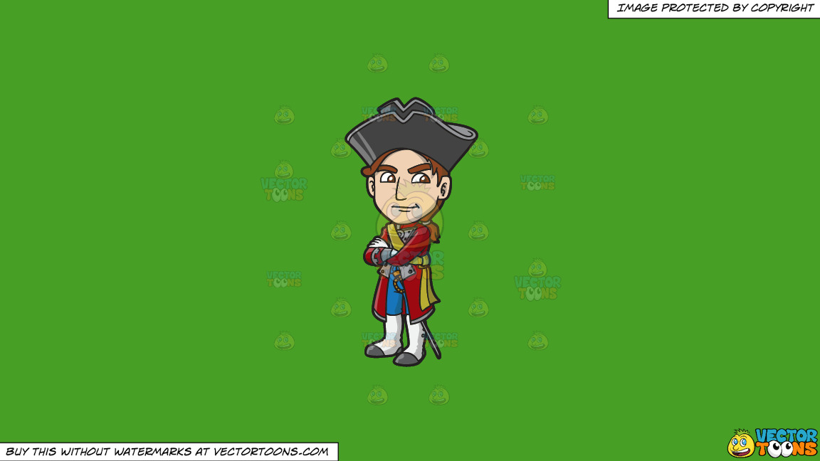 A Jealous 18th Century Military Man On A Solid Kelly Green 47a025 Background thumbnail
