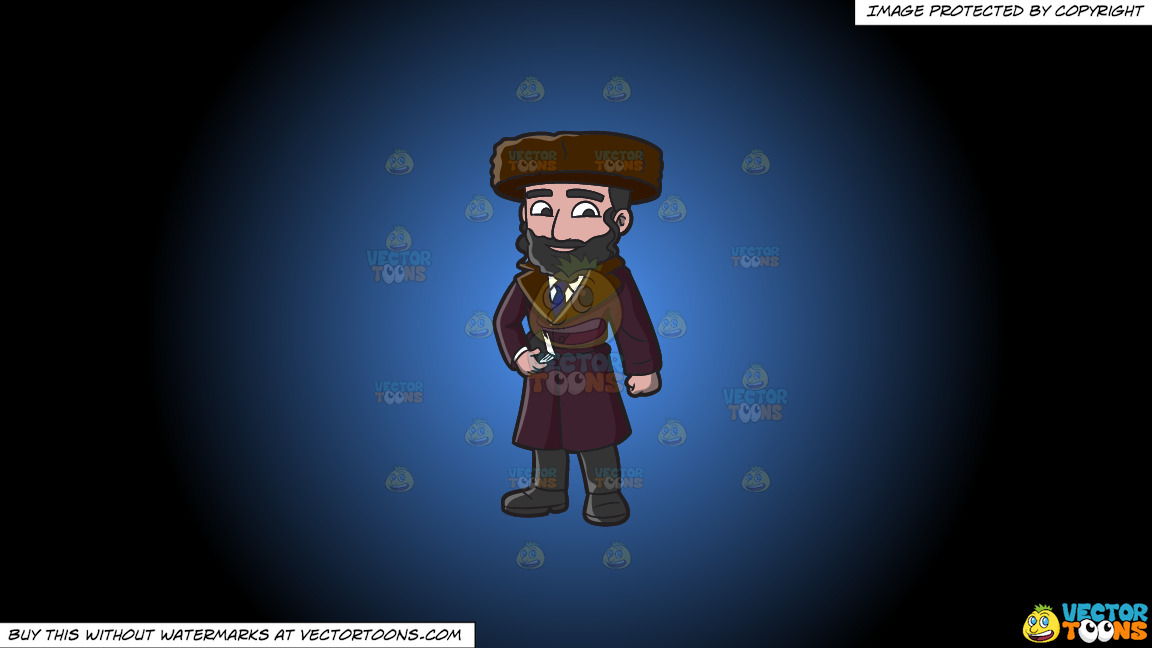 A Jewish Guy In Winter Clothes On A Blue And Black Gradient Background thumbnail