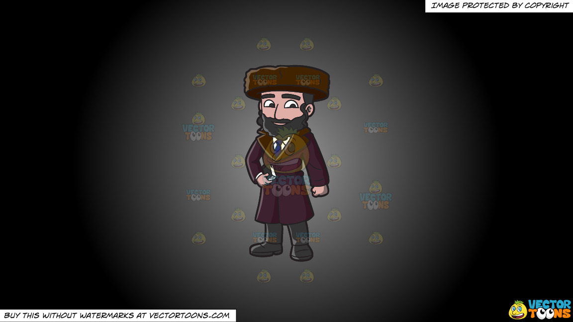 A Jewish Guy In Winter Clothes On A Grey And Black Gradient Background thumbnail