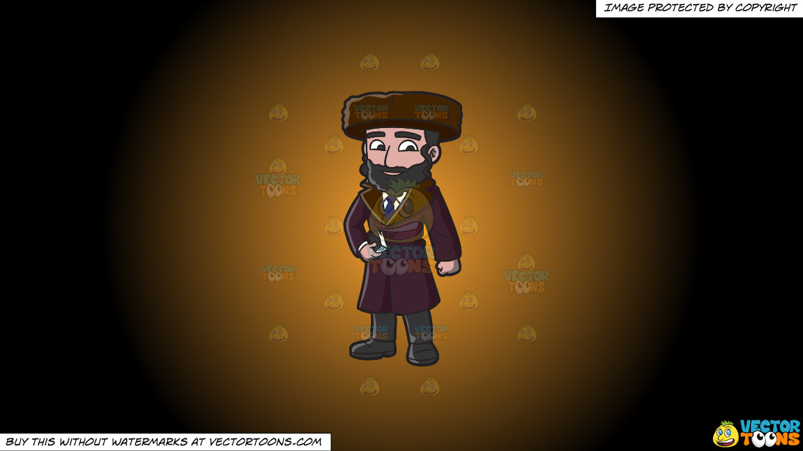 A Jewish Guy In Winter Clothes On A Orange And Black Gradient Background thumbnail