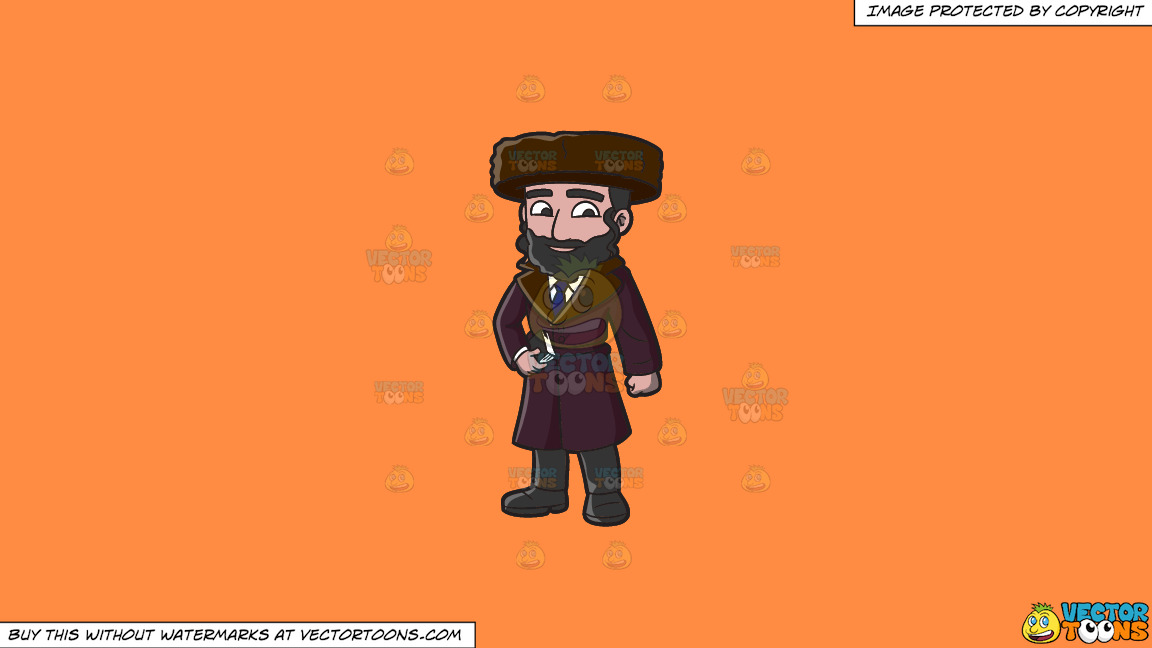 A Jewish Guy In Winter Clothes On A Solid Mango Orange Ff8c42 Background thumbnail