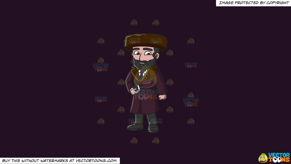 A Jewish Guy In Winter Clothes On A Solid Purple Rasin 241023 Background thumbnail