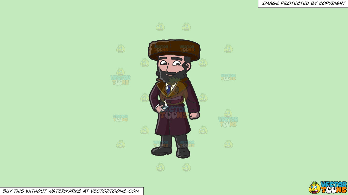 A Jewish Guy In Winter Clothes On A Solid Tea Green C2eabd Background thumbnail