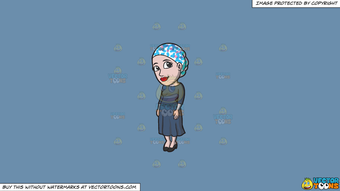 A Jewish Woman With A Head Wrap On A Solid Shadow Blue 6c8ead Background thumbnail