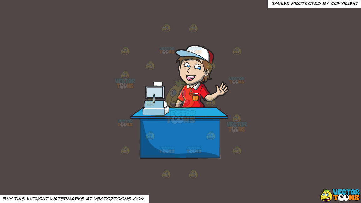 A Jolly Female Fast Food Cashier Worker On A Solid Quartz 504746 Background thumbnail