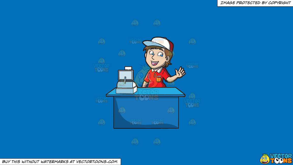 A Jolly Female Fast Food Cashier Worker On A Solid Spanish Blue 016fb9 Background thumbnail