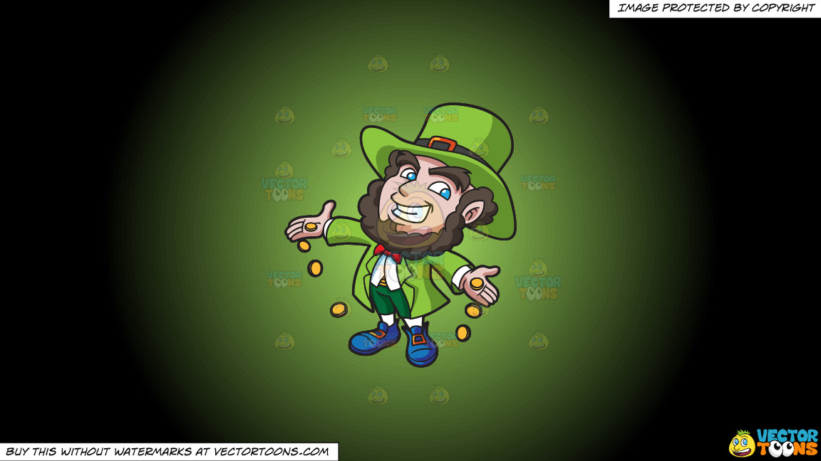 A Jolly Leprechaun Dropping Gold Coins On A Green And Black Gradient Background thumbnail