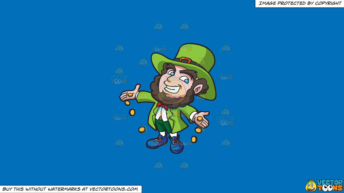 A Jolly Leprechaun Dropping Gold Coins On A Solid Spanish Blue 016fb9 Background thumbnail