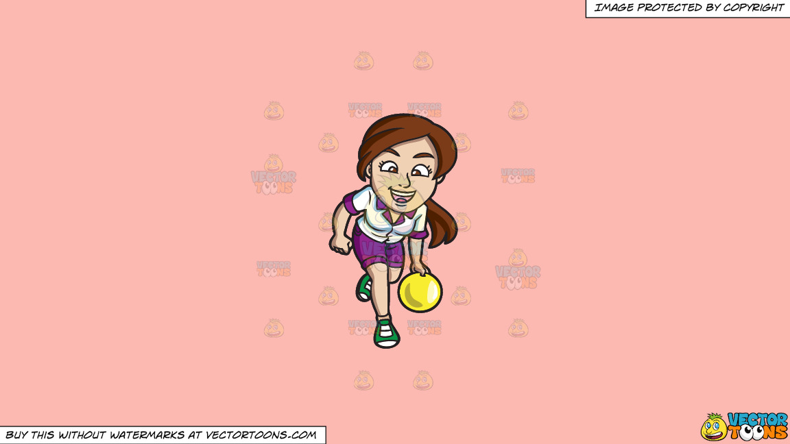 A Jolly Woman Enjoying A Game Of Bowling On A Solid Melon Fcb9b2 Background thumbnail
