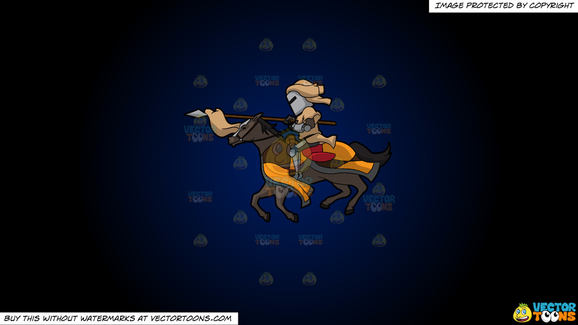A Jousting Knight On A Dark Blue And Black Gradient Background thumbnail