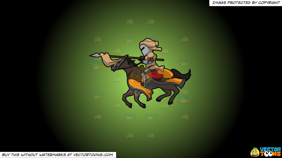 A Jousting Knight On A Green And Black Gradient Background thumbnail